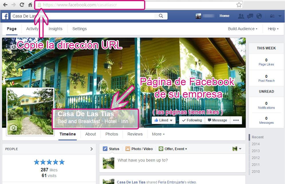 URL de página en Facebook